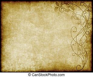floreale, carta, o, pergamena