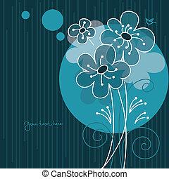 floreale, cartone animato, fondo, uccello