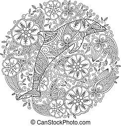 floreale, cerchio, coloritura, delfino, pagina
