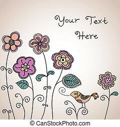 floreale, colorare, uccello, fondo