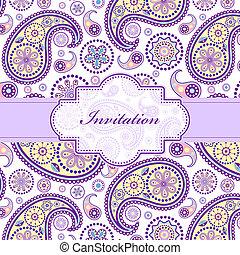 floreale, colorito, scheda, invito