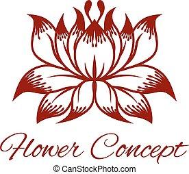 floreale, concetto, disegno, fiore, icona