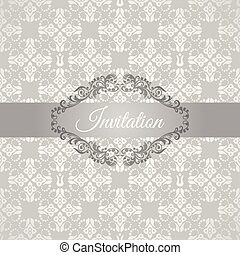floreale, cornice, argento, invito