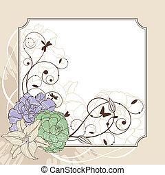 floreale, cornice, bello