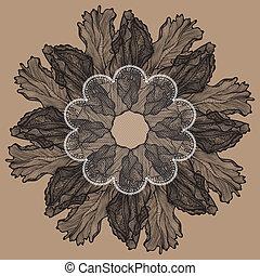 floreale, cornice, con, tulips, con, lace., vettore, illustration.