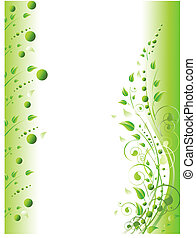 floreale, cornice, con, turbini, e, fogliame, in, verde