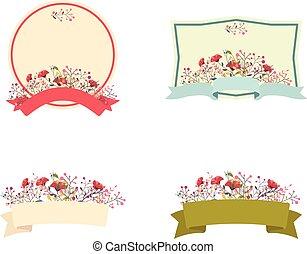 floreale, cornice, set, retro, nastro