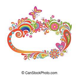 floreale, cornice, summery, colorito