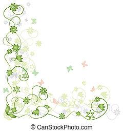 floreale, cornice, verde