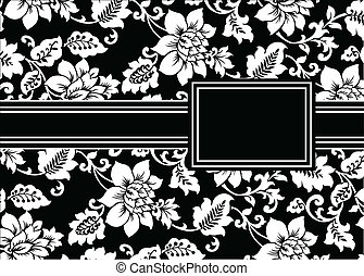 floreale, cornice, vettore, nero, nastro