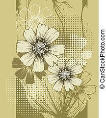 floreale, cos, fondo, azzurramento