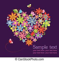 floreale, cuore, cartolina auguri