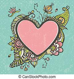 floreale, cuore, cornice, forma, scarabocchiare