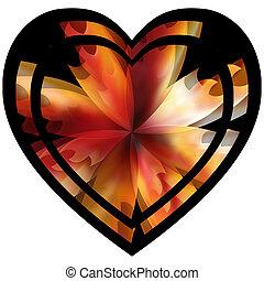 floreale, cuore, fiore, fiamme