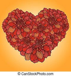 floreale, cuore, fiori, fatto, dalia