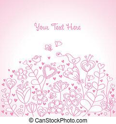 floreale, cuore, sfondo rosa