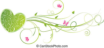 floreale, cuore, turbini, verde, valentine