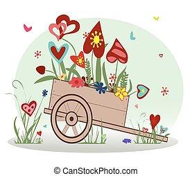 floreale, cuori, carrello, disposizione