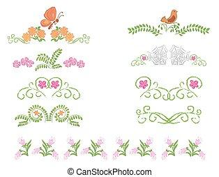 floreale, decorativo, divisori, vettore, -