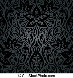 floreale, decorativo, sfondo nero, vendemmia