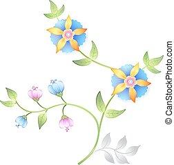 floreale, decorazione, elementi, set