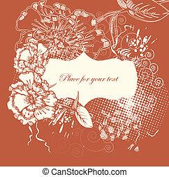 floreale, disegnato, cornice, fiore, mano