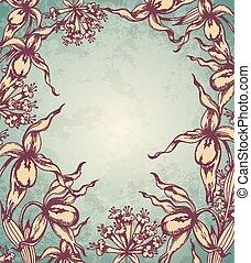 floreale, disegnato, cornice, orchidea, mano