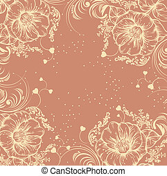 floreale, disegnato, fiore, fondo, mano