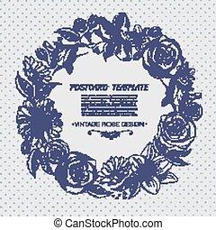 floreale, disegnato, flowers., fondo, mano