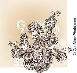 floreale, disegnato, fondo, o, mano