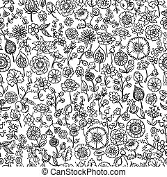floreale, disegnato, seamless, fondo, mano