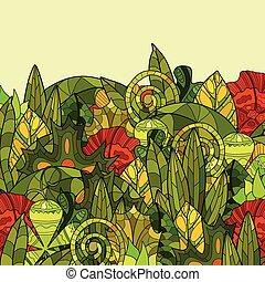 floreale, disegnato, vettore, fondo, mano