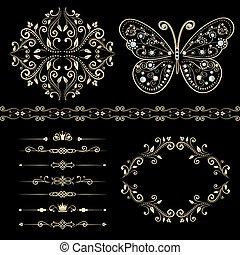 floreale, dividers., set, bordo, cornice