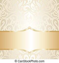 floreale, dorato, carta da parati, matrimonio