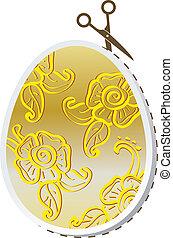 floreale, dorato, uovo di pasqua