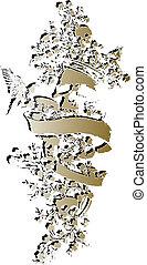 floreale, emblema, cranio, capriccio