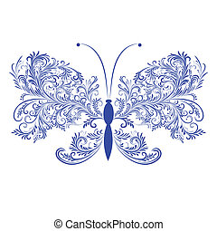floreale, farfalla, astratto