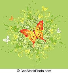 floreale, farfalla, fondo
