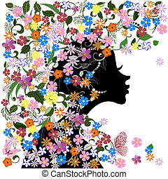 floreale, farfalla, ragazza, acconciatura