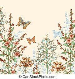 floreale, farfalle, fondo