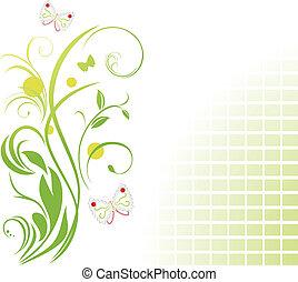 floreale, farfalle, ornamento