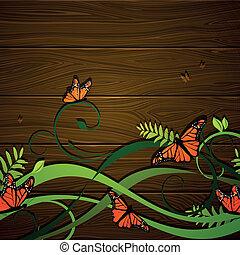 floreale, farfalle, vettore, fondo
