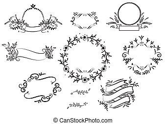 floreale, fiore, cornice, mano, disegnato