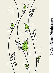 floreale, foglie, sfondo verde