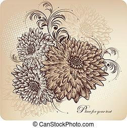floreale, fondo, con, azzurramento, chr