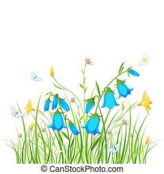 floreale, fondo, con, blu, e, fiori gialli