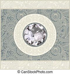 floreale, fondo, con, diamante, gioiello