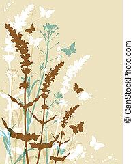 floreale, fondo, con, farfalle