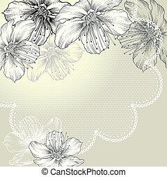 floreale, fondo, con, vendemmia, laccio