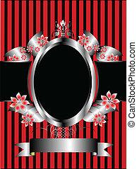 floreale, fondo, cornice, rosso, argento, classico, strisce
